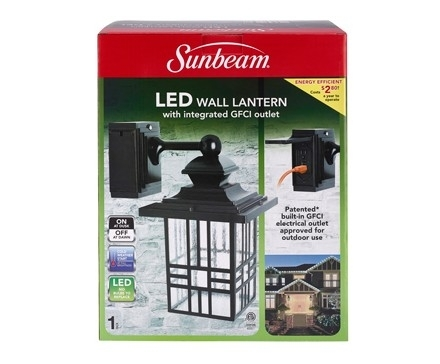 Sunbeam Large Mission Led Wall Lantern With Gfci, Color Box | L within Outdoor Wall Lights With Gfci Outlet (Image 9 of 10)