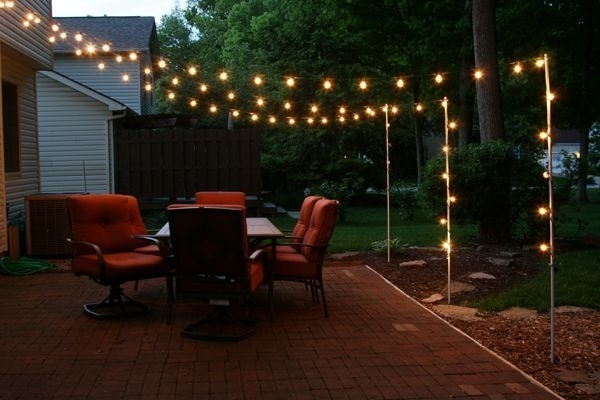 Support Poles For Patio Lights Made From Rebar And Electrical Pertaining To Outdoor Hanging Garden Lights (View 10 of 10)