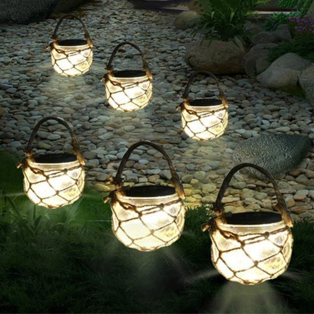 Thrisdar 3Pcs Mason Jar Solar Garden Fairy Light Retro Outdoor pertaining to Solar Outdoor Hanging Lights (Image 10 of 10)