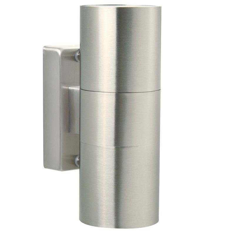 Tin Double Outdoor Wall Light - Stainless Steel for Stainless Steel Outdoor Wall Lights (Image 10 of 10)