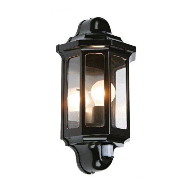 Traditional Garden Wall Light With Pir Motion Sensor, Great Security. throughout Outdoor Wall Lights In Black (Image 9 of 10)