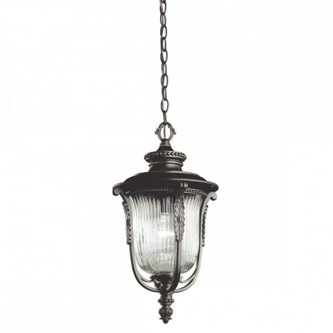 Traditional Outdoor Hanging Coach Lantern In Bronze With Ribbed Glass Regarding Outdoor Hanging Coach Lanterns (View 8 of 10)