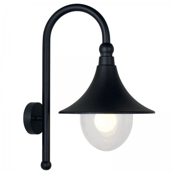 Traditional Rustic Outdoor Wall Light In Black Finish With Glass Shade for Outdoor Wall Light Glass (Image 9 of 10)