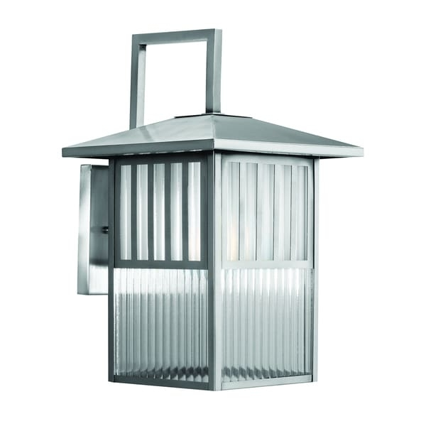 Trasitional 1 Light Brushed Nickel Outdoor Wall Lantern – Free Within Brushed Nickel Outdoor Wall Lighting (Image 9 of 10)