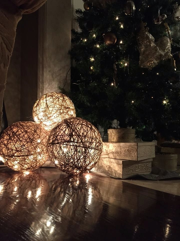 Twine Spheres - Diy | Twine, Lights And Craft inside Outdoor Hanging Ornament Lights (Image 10 of 10)
