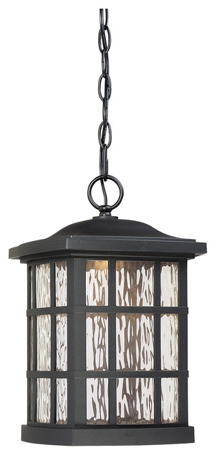 Urban Ambiance - Luxury Craftsman Black Outdoor Pendant Light pertaining to Houzz Outdoor Hanging Lights (Image 9 of 10)