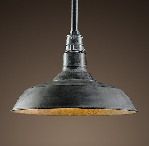 Vintage Barn Pendant Weathered Zinc A Reproduction Of An Enamel regarding Outdoor Hanging Barn Lights (Image 9 of 10)