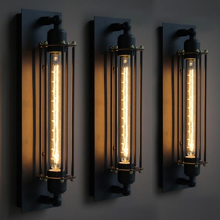 Vintage Industrial Edison Wall Lamps American Country Wrought Iron pertaining to Vintage Outdoor Wall Lights (Image 10 of 10)