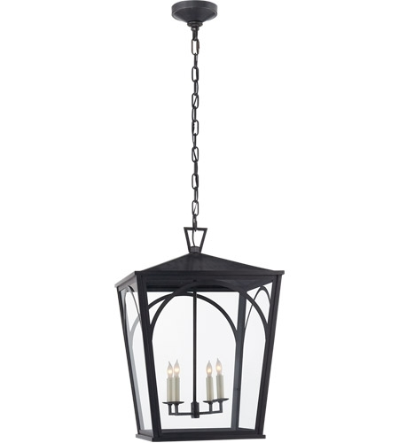 Visual Comfort Cho5311Bz-Cg E. F. Chapman Darlana 4 Light 17 Inch inside Outdoor Hanging Glass Lanterns (Image 10 of 10)