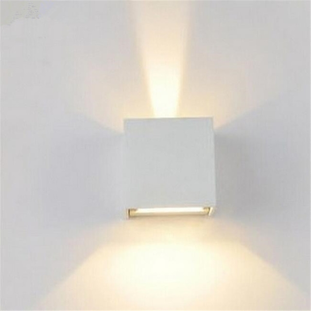 Wall Lamps 6W Led Up Down Lights Led Outdoor Cube Wall Sconce with Outdoor Wall Sconce Up-Down Lighting (Image 10 of 10)