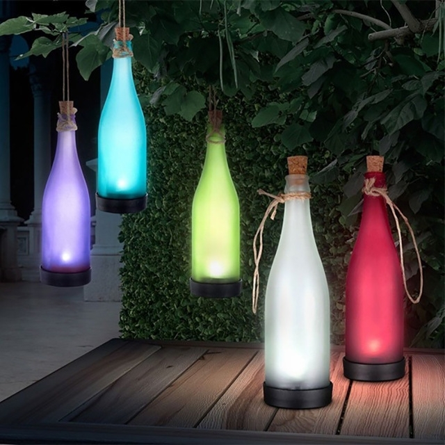 Waterproof Colour Outdoor Solar Bottle Hanging Lamp Garden Landscape intended for Outdoor Waterproof Hanging Lights (Image 7 of 10)
