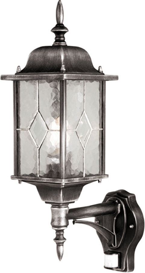 Wexford Traditional Outdoor Pir Wall Lantern Black & Silver Wx1 Pir with Outdoor Hanging Lanterns With Pir (Image 10 of 10)