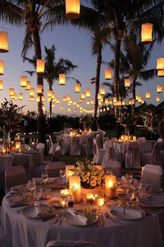 White Concept For Outdoor Wedding Party Using Hanging Lantern inside Outdoor Hanging Lanterns for Wedding (Image 10 of 10)