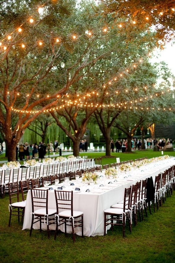 Yellow Hanging String Lights For Outdoor Wedding Party With Long inside Hanging Lights For Outdoor Wedding (Image 10 of 10)