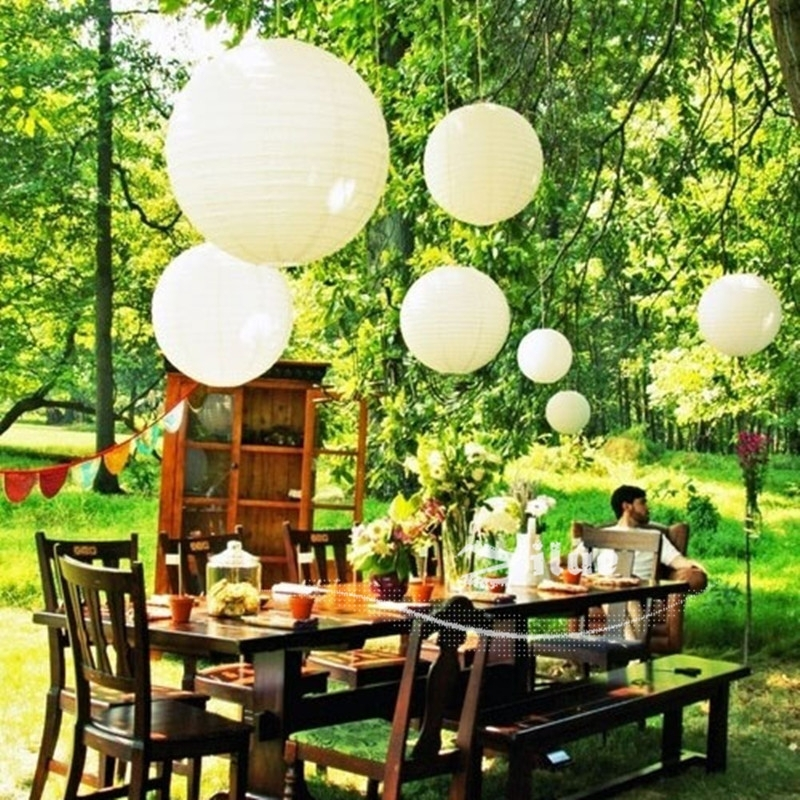 Zilue 10Pcs/lot Ivory Color Chinese Paper Lanterns Round Paper With Outdoor Hanging Paper Lanterns (View 1 of 10)