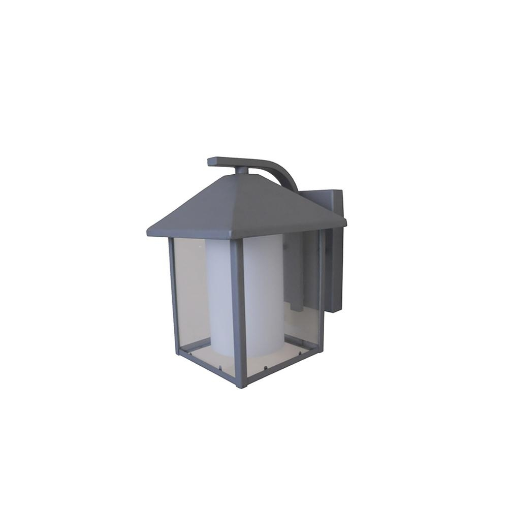 1-Light Silver Grey Outdoor Wall Lantern-Ledowl322Sg - The Home Depot intended for Outdoor Grey Lanterns (Image 1 of 20)