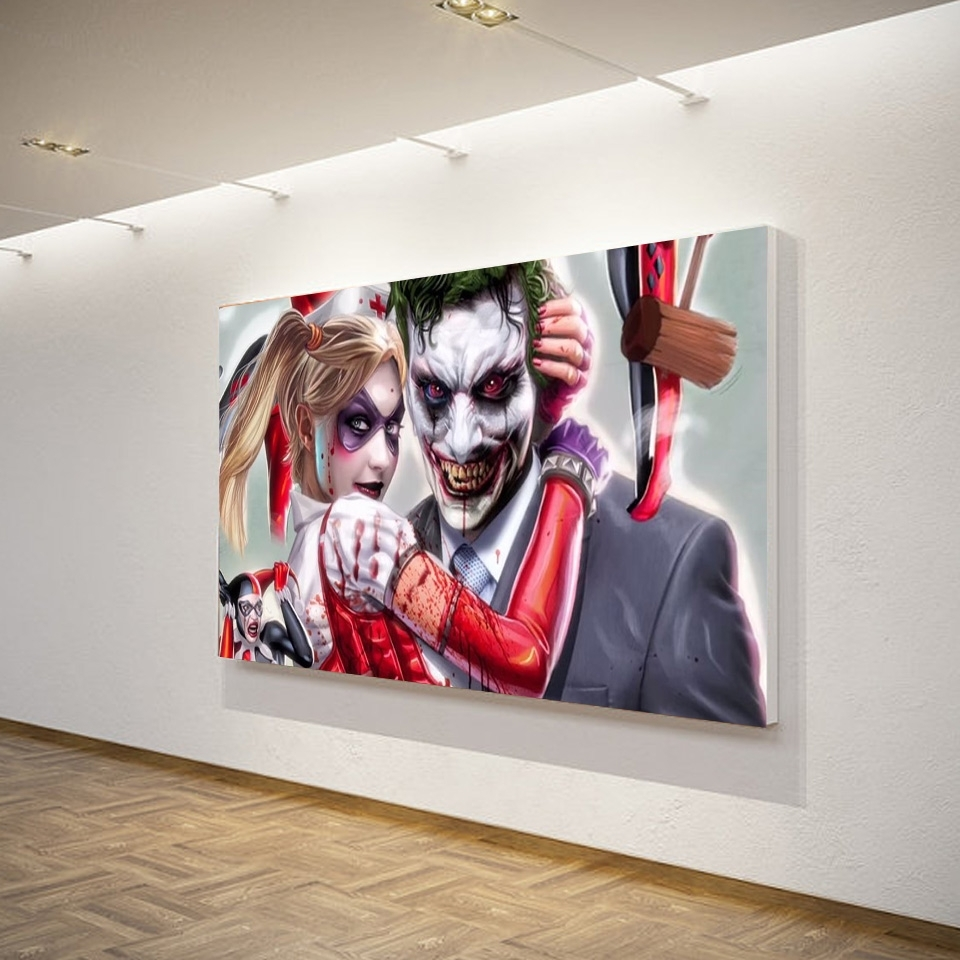 1 Piece Canvas Art Canvas Painting Joker Harley Quinn Comics Printed throughout Joker Wall Art (Image 1 of 20)