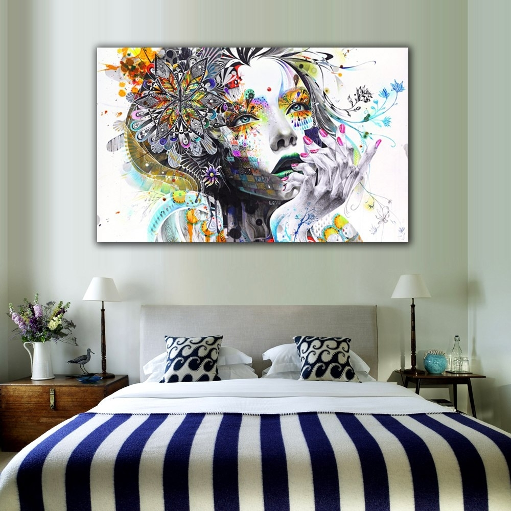 1 Piece Modern Wall Art Girl With Flowers Unframed Canvas Painting within Modern Wall Art (Image 1 of 20)