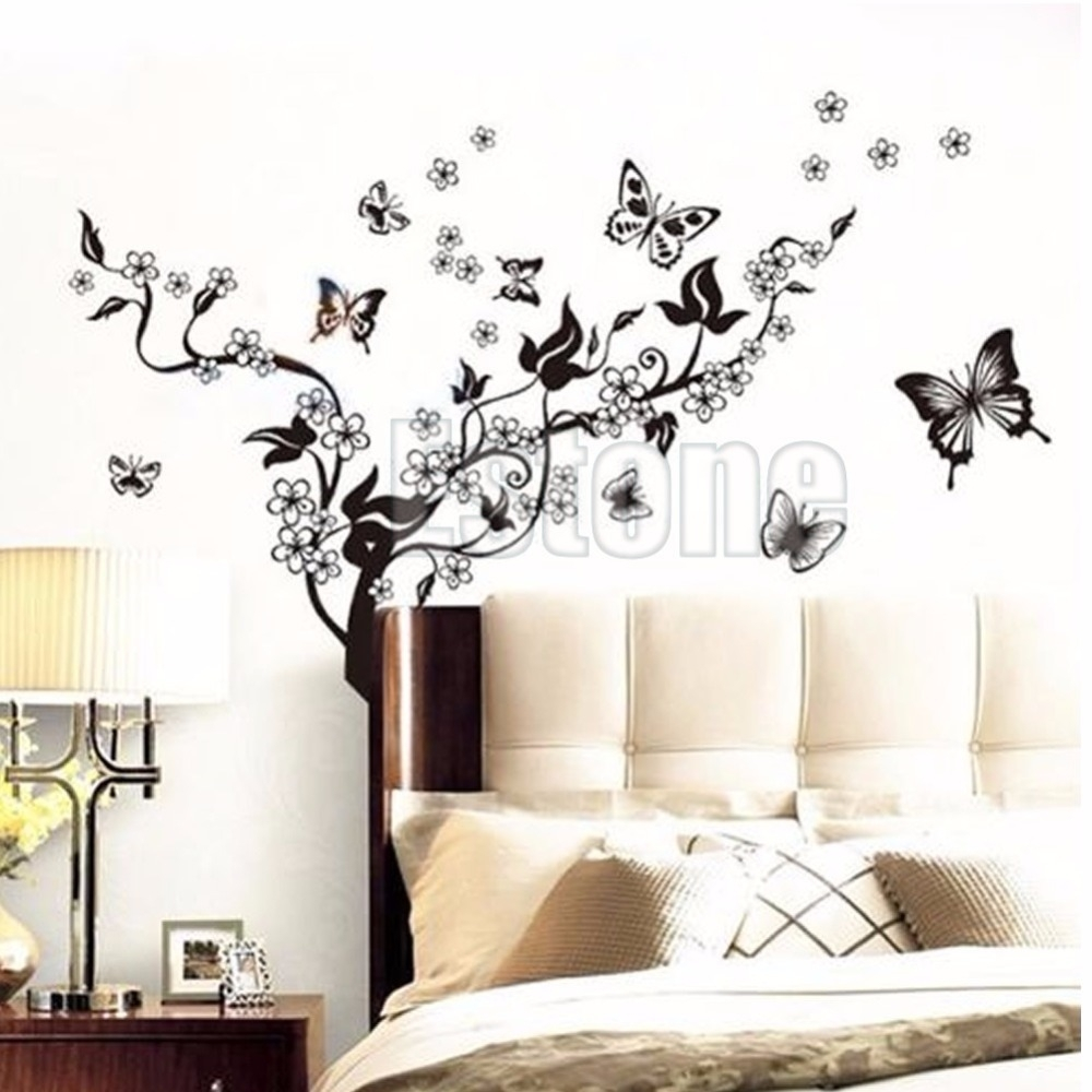 1 Set Butterfly Flower Wall Art Decal Vinyl Stickers Home Diy Decor Within Flower Wall Art (Photo 8 of 20)