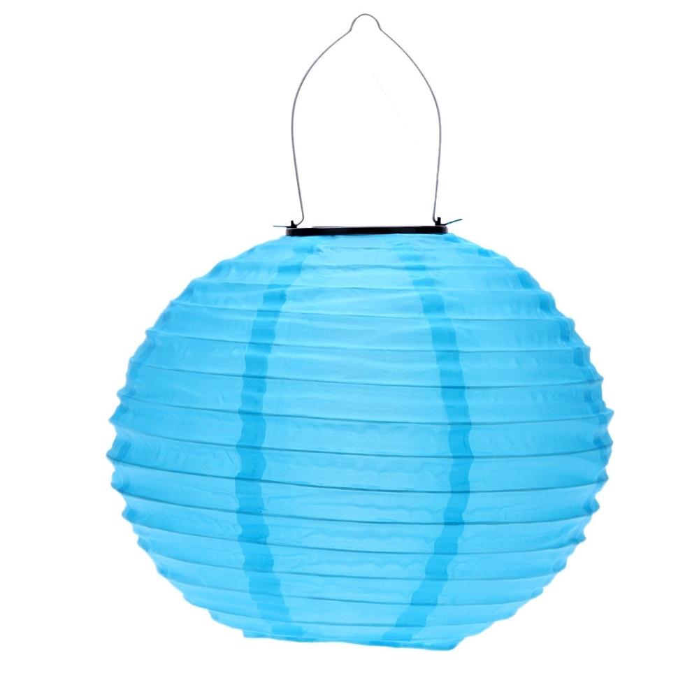 10 Inch Blue Waterproof Solar Lantern Outdoor Garden Led Chinese within Blue Outdoor Lanterns (Image 1 of 20)