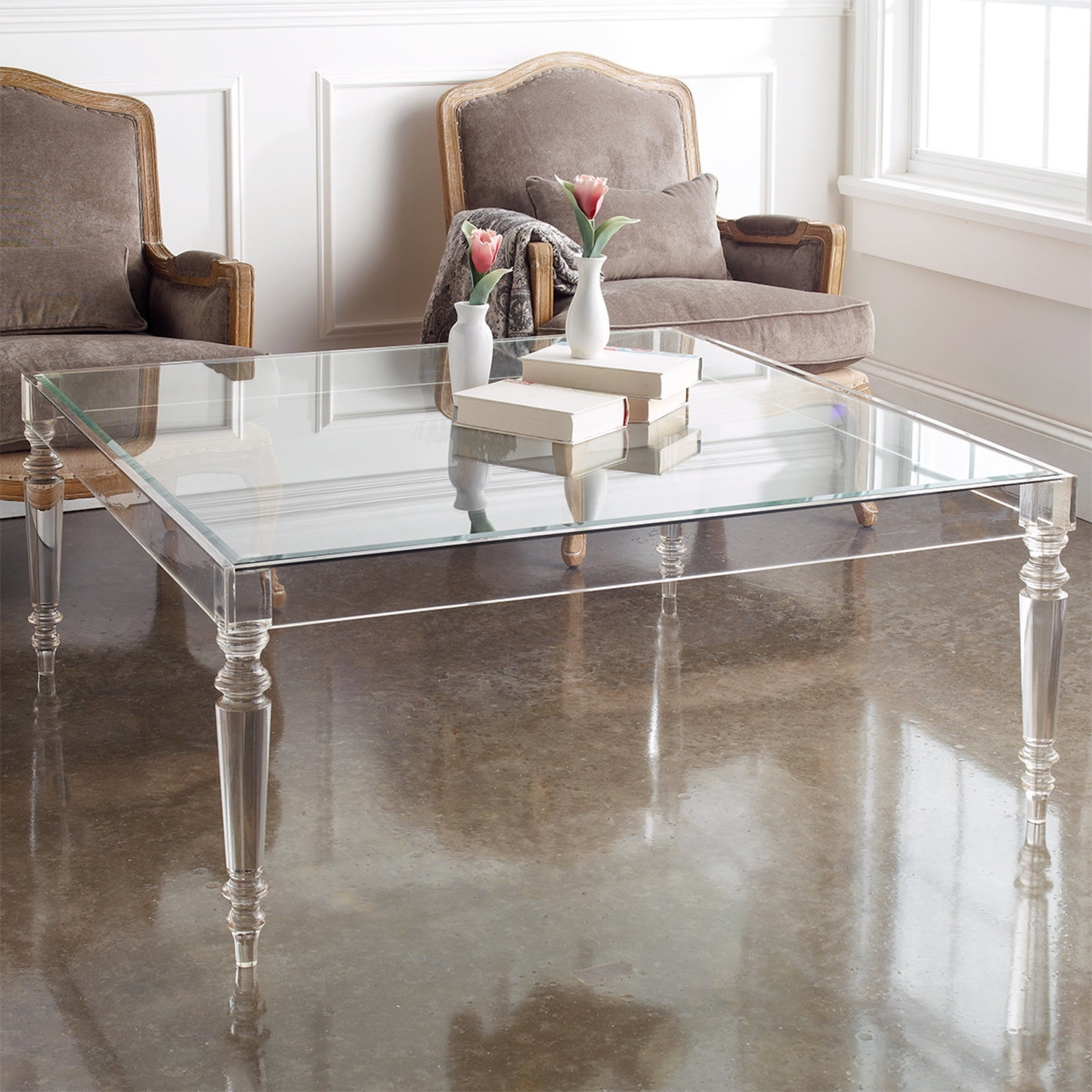 10 Inspiring Acrylic Coffee Table For Your Lovely Home with Acrylic Glass and Brass Coffee Tables (Image 1 of 30)