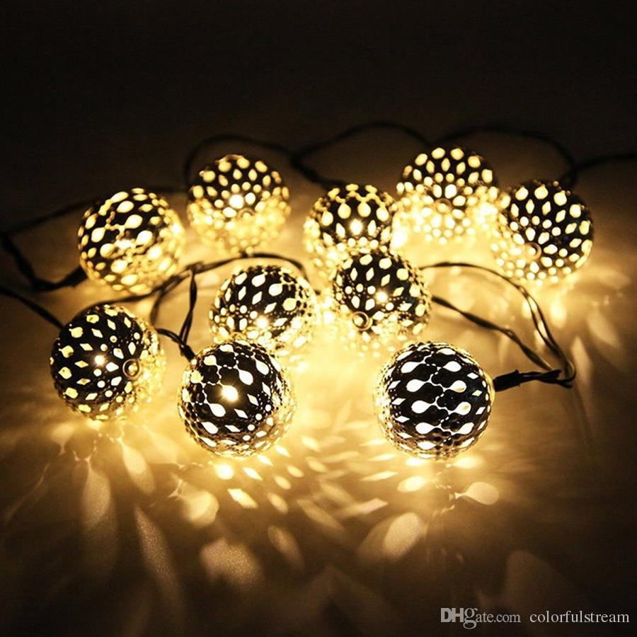 10 Moroccan Metal Ball Solar Powered String Lanterns Led Indoor Or intended for Outdoor Ball Lanterns (Image 1 of 20)