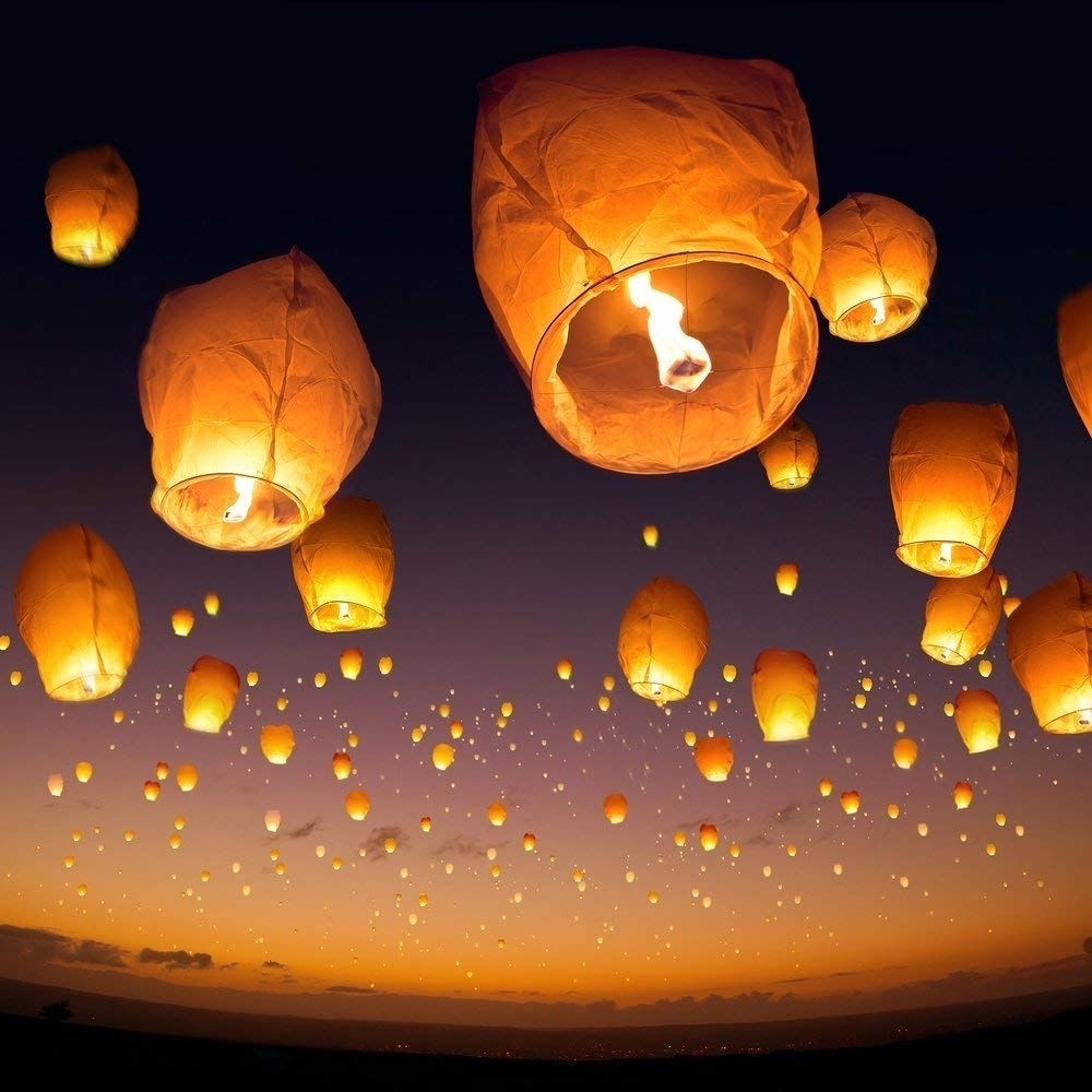10 Sky Lanterns - White - Paper Lantern Lamps - Amazon intended for Outdoor Hanging Japanese Lanterns (Image 1 of 20)
