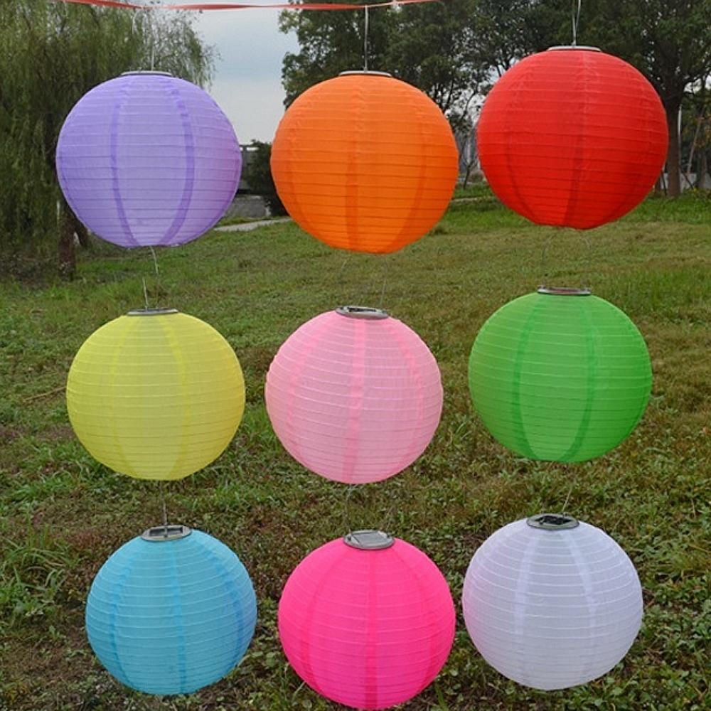 """10"""" Solar Powered Led Light Chinese Nylon Fabric Lantern Lamp within Outdoor Nylon Lanterns (Image 1 of 20)"""