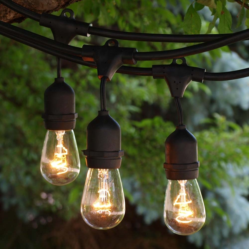 100' Black Outdoor String Light & 11S14 Clear Bulb, Suspended Socket With Outdoor Empty Lanterns (Gallery 3 of 20)