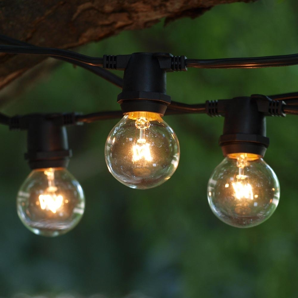 100' Commercial Globe Lights, Black C9 Cord & G40 Clear Bulbs Throughout Outdoor Empty Lanterns (Gallery 7 of 20)