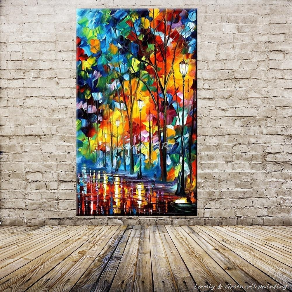 100% Handpainted Wall Art Modern Abstract Paintings Rain Tree Road with Modern Abstract Painting Wall Art (Image 1 of 20)