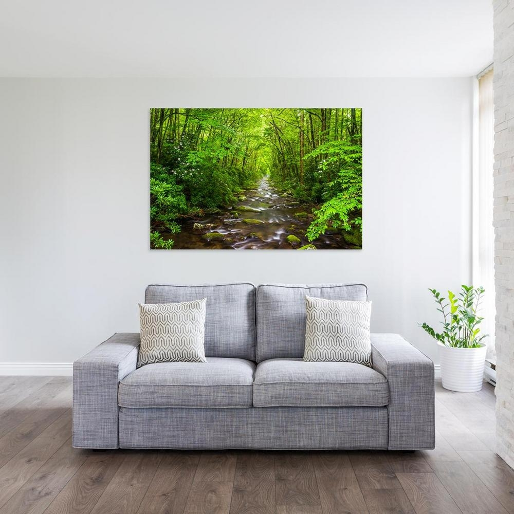"12 In. X 18 In. ""river In A Lush Forest In The Great Smoky Mountains For North Carolina Wall Art (Photo 20 of 20)"