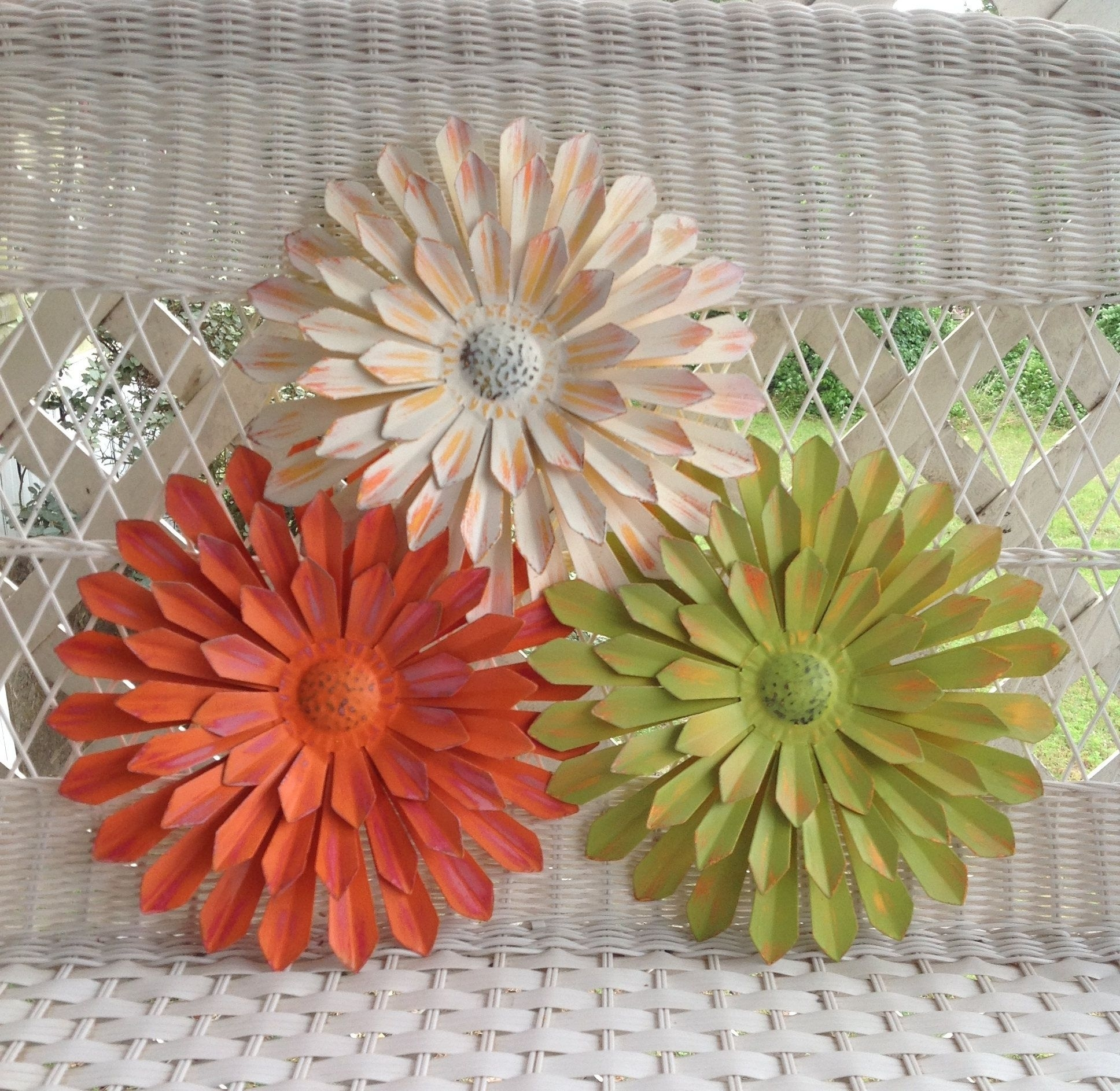 """12"""" Metal Flowers – Wall & Fence Decor – Set Of 3 White/orange/green Intended For Metal Flowers Wall Art (View 16 of 20)"""