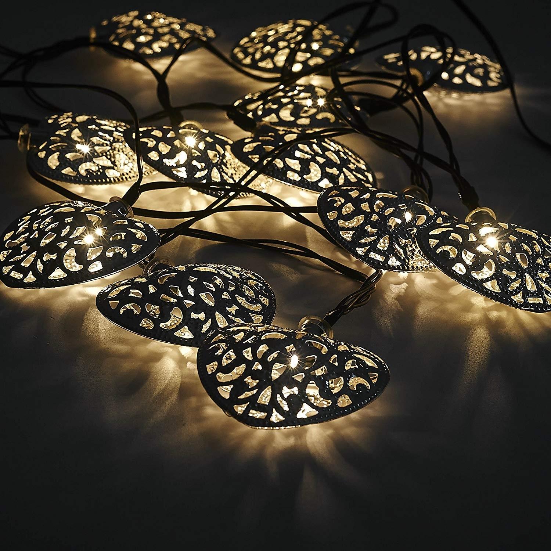 12 Moroccan Heart Solar String Lanterns Led Fairy Lights Garden Inside Outdoor Turkish Lanterns (View 1 of 20)