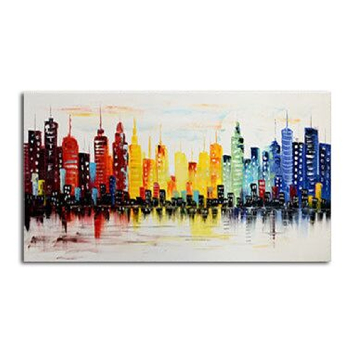 120X60Cm Modern City Canvas Abstract Painting Print Living Room Art throughout Modern Abstract Painting Wall Art (Image 2 of 20)