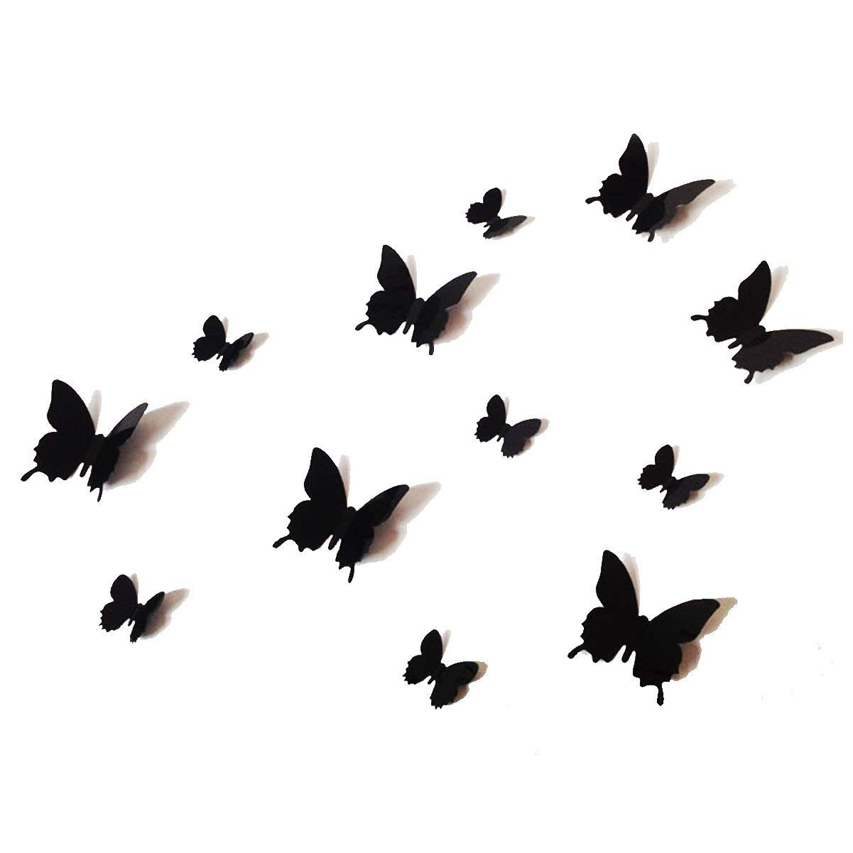 12Pcs 3D Black Butterfly Wall Stickers Art Decal Pvc Butterflies For Butterfly Wall Art (Gallery 10 of 20)
