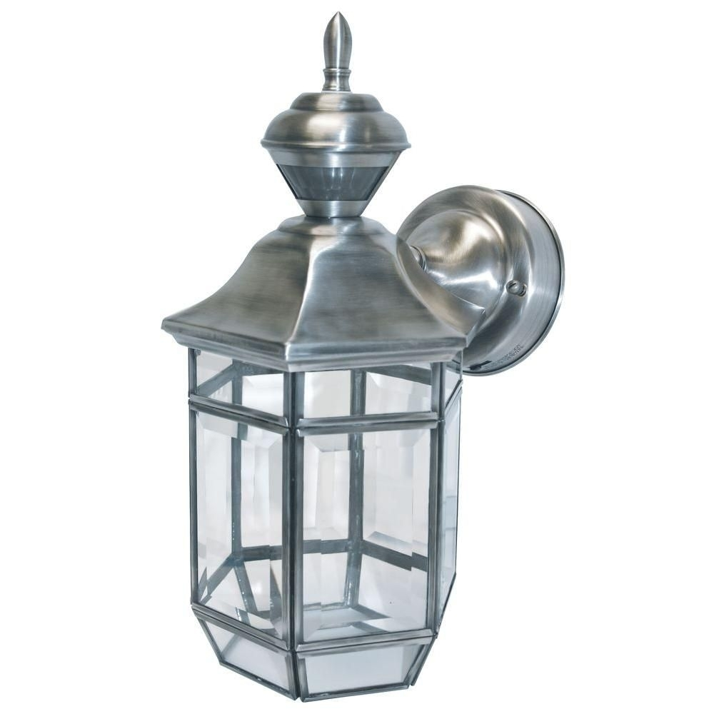 150 Degree Silver Lexington Lantern With Clear Beveled Glass | Products Throughout Silver Outdoor Lanterns (View 14 of 20)