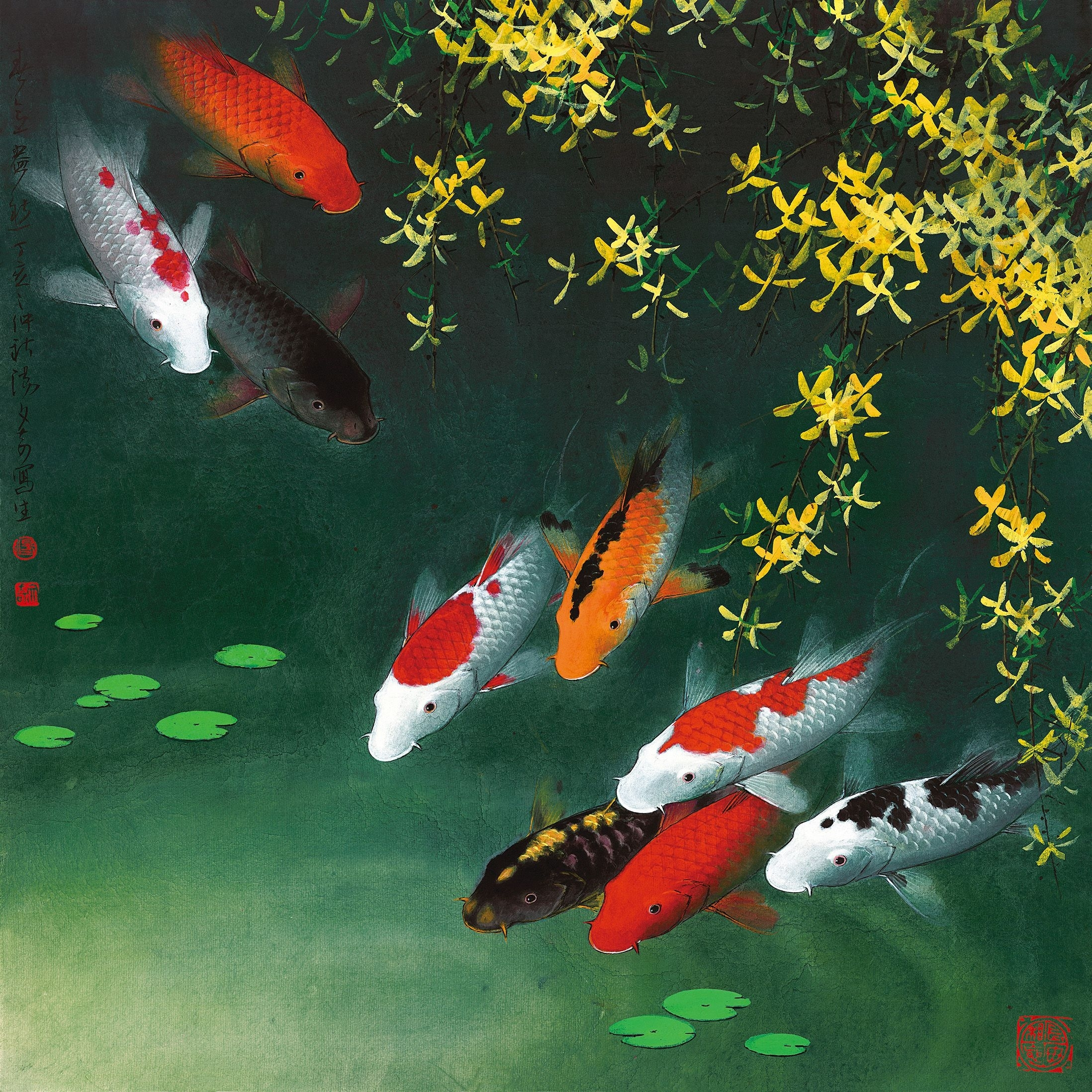 1523 Fine Art Paintings Giclee Art Prints On Canvas Koi Fish Wall With Regard To Fish Painting Wall Art (Photo 16 of 20)