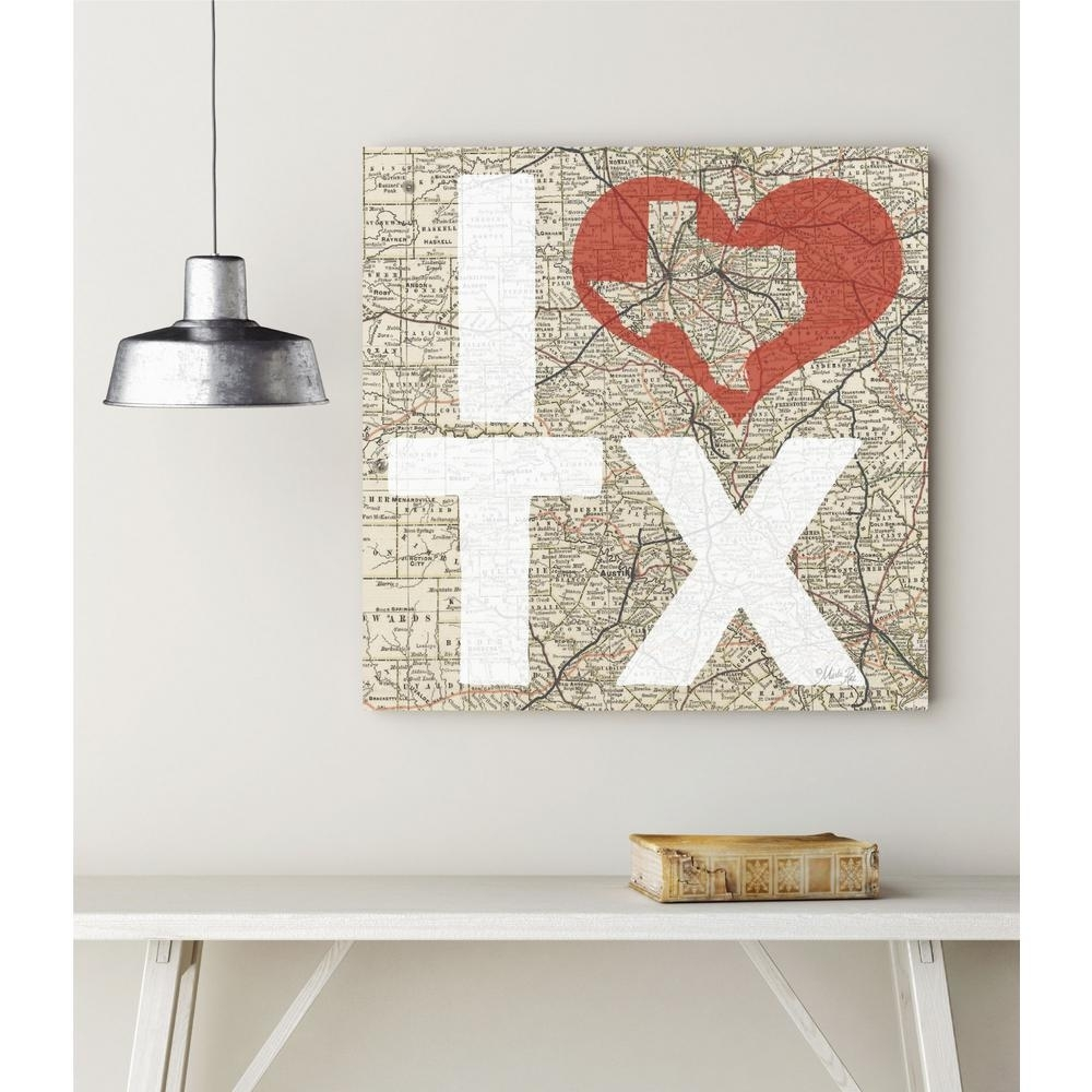 """16 In. X 16 In. """"i Love Texas"""" Canvas Wall Art Web T545 – The Home Depot Throughout Texas Wall Art (Gallery 5 of 20)"""