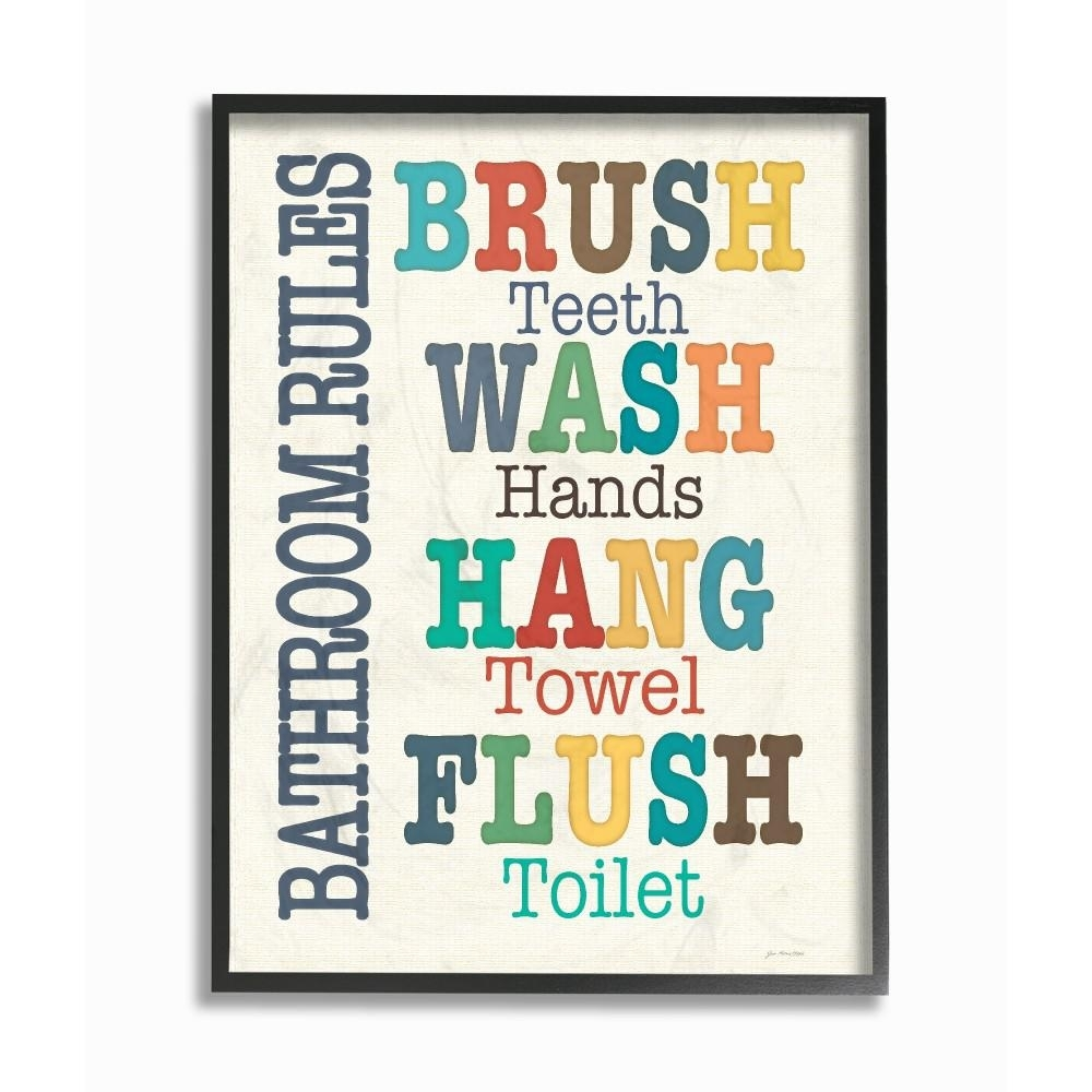 "16 In. X 20 In. ""colorful Bathroom Rules Typography Art""jo Regarding Bathroom Rules Wall Art (Photo 6 of 20)"