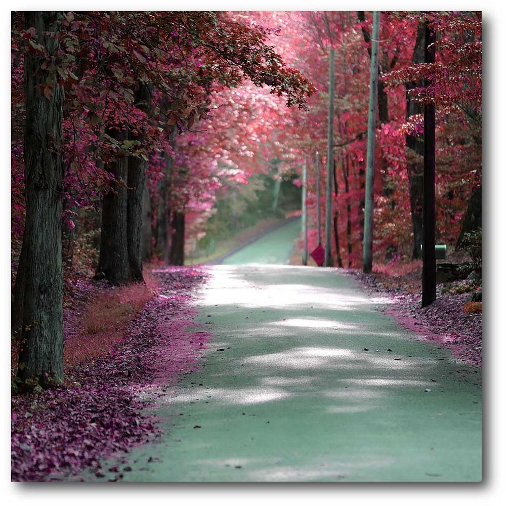 """16 In. X 20 In. """"majestic Pink Road"""" Canvas Wall Art-Web-Po112 - The for Pink Wall Art (Image 1 of 20)"""
