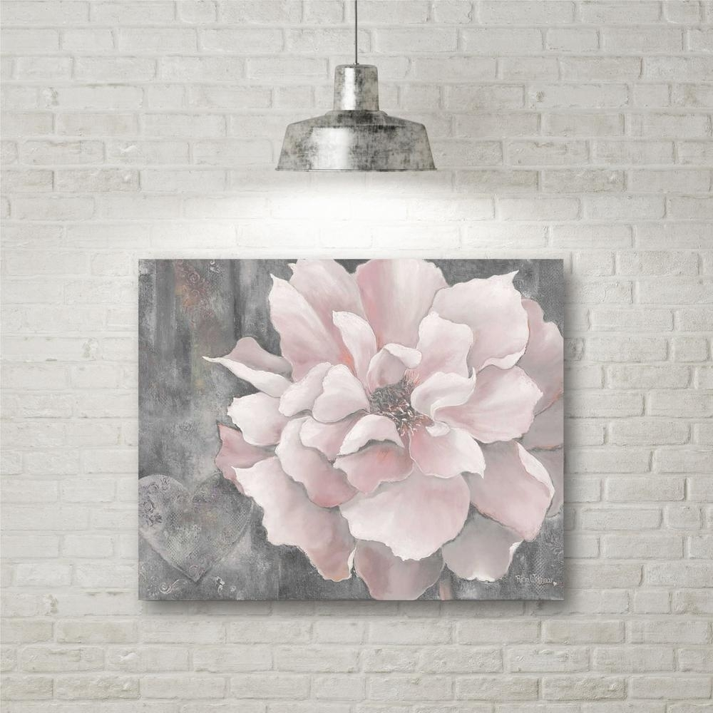 "16 In. X 20 In. ""pink And Gray Magnolia"" Canvas Wall Art Web Sc329 With Regard To Gray Canvas Wall Art (Gallery 3 of 20)"