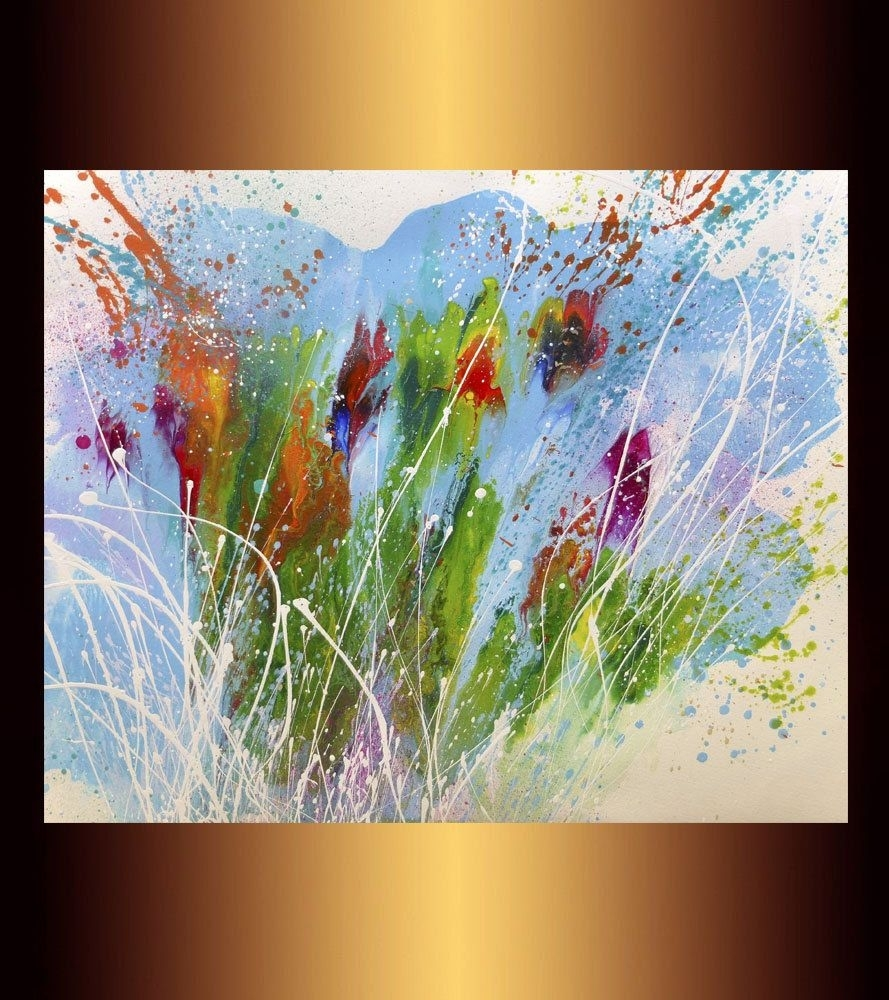 """16"""" X20"""" Abstract Painting On Watercolor Paper, Art, Original Mixed Throughout Modern Abstract Painting Wall Art (Photo 18 of 20)"""