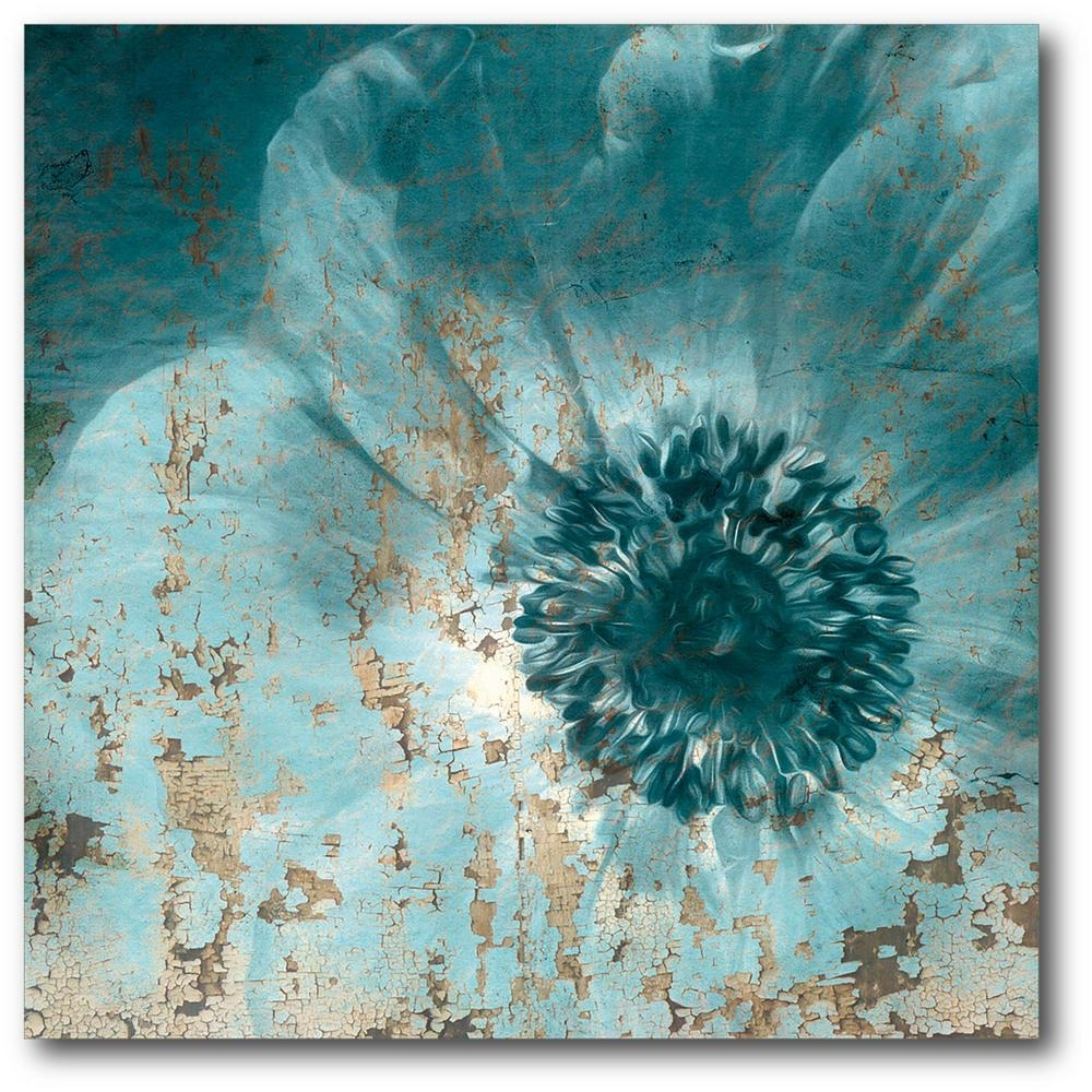 16In. X 16In. Teal Flower Wrapped Canvas Canvas Wall Art Web Sb161 With Teal Wall Art (Photo 19 of 20)