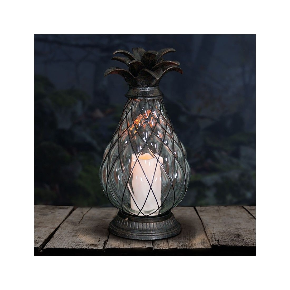 "17"" Bronze Pineapple Lantern With Led Candle – Dimensions: 8"" X 8"" X Inside Outdoor Pineapple Lanterns (Gallery 16 of 20)"