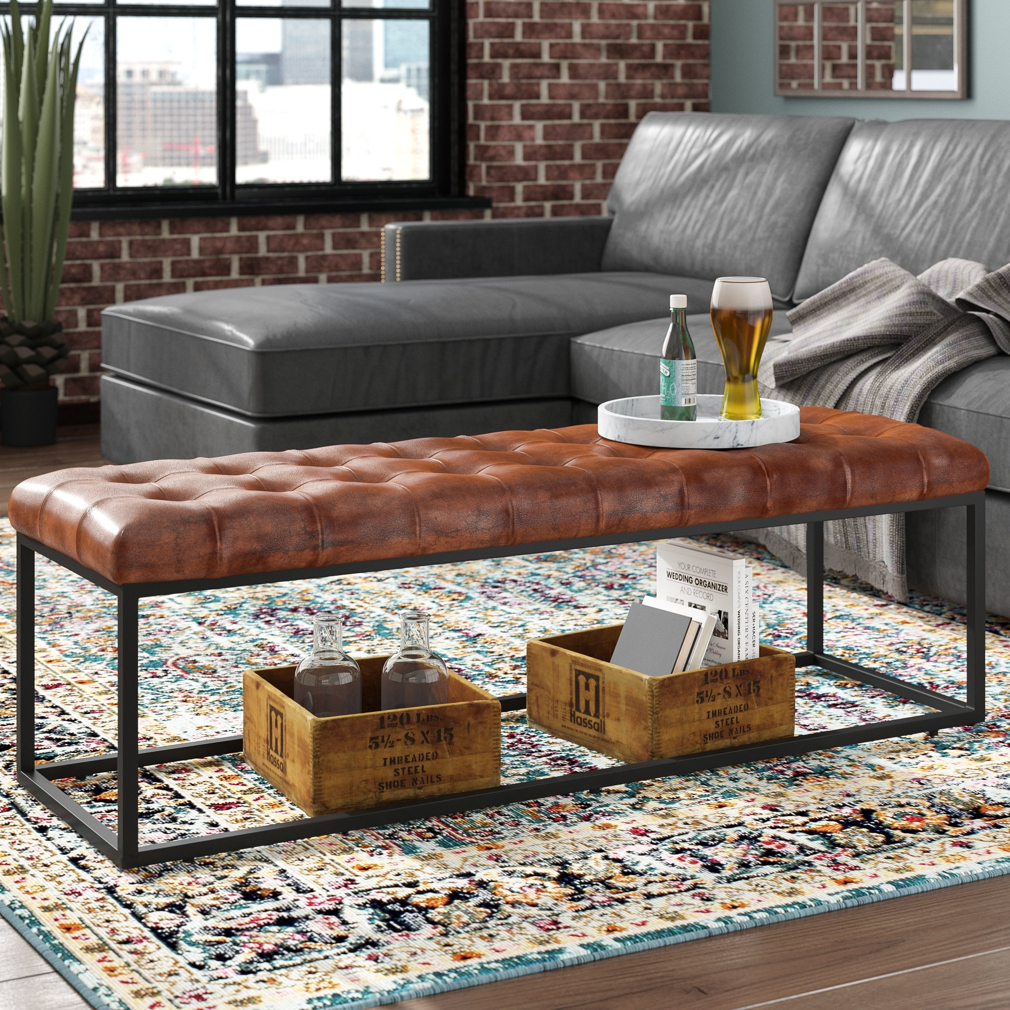 17 Stories Carroll Genuine Leather Bench & Reviews | Wayfair Inside Mill Large Leather Coffee Tables (Gallery 7 of 30)