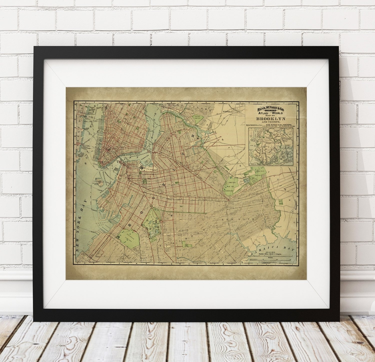 1897 Brooklyn Map Print, Vintage Map Art, Antique Map Wall Decor Intended For New York City Map Wall Art (View 18 of 20)