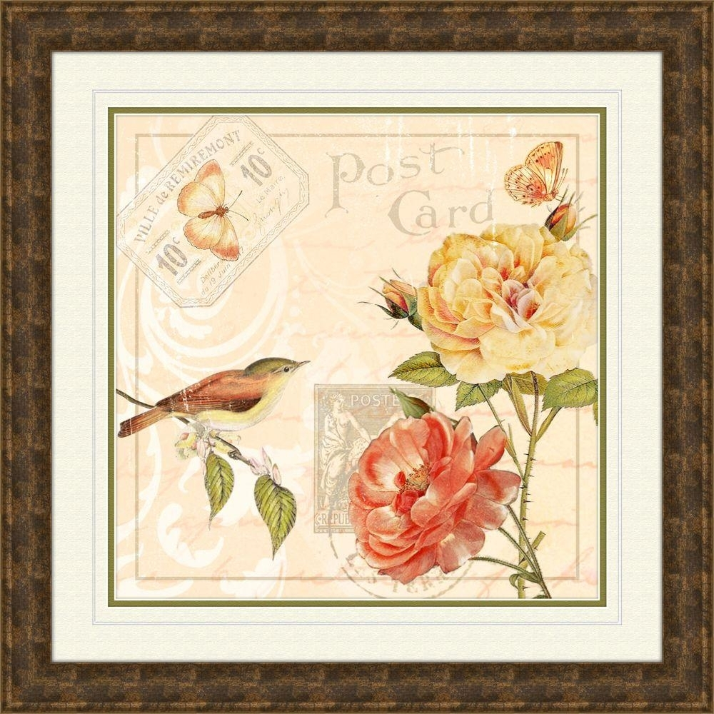 """19.5 In. X 19.5 In. """"ivory Floral A"""" Framed Wall Art 1 12813A   The Within Floral Wall Art (Photo 13 of 20)"""