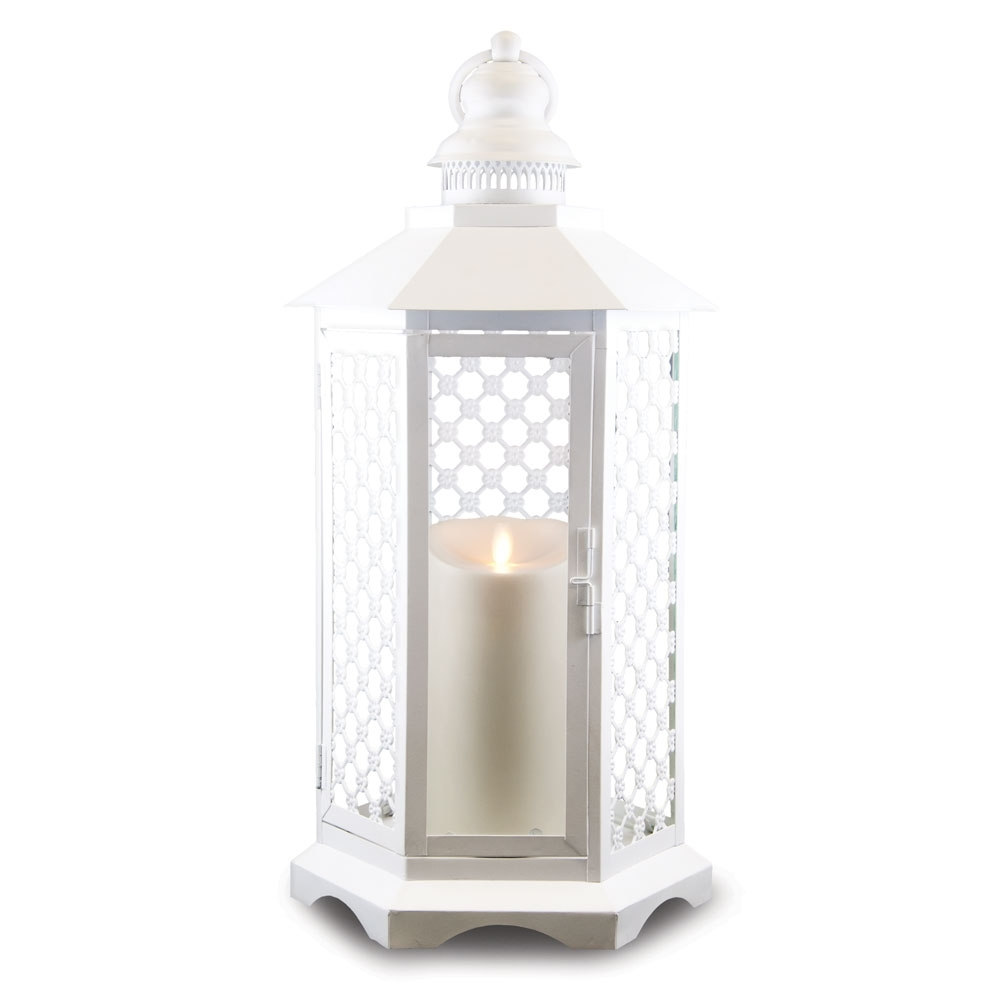 19 Inch Lattice Lantern With Luminara Candle And Timer – White Inside Outdoor Luminara Lanterns (Gallery 18 of 20)