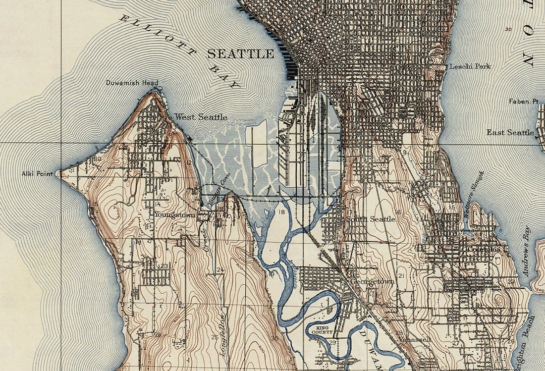1909 Topographic Map Of Seattle   Old Maps And Prints   Emerald City With Regard To Seattle Map Wall Art (Photo 14 of 20)